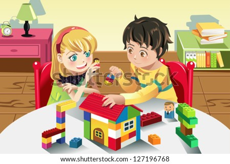 A vector illustration of kids playing with their toys - stock vector