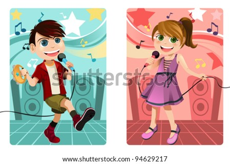 A vector illustration of kids singing karaoke - stock vector