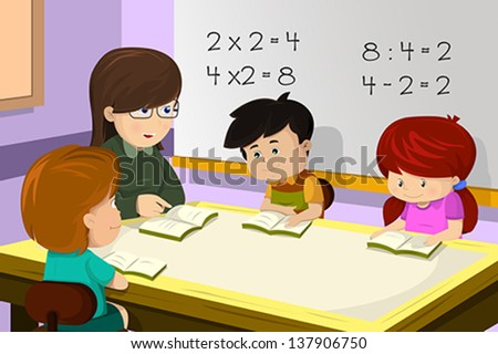 A vector illustration of kids studying math in classroom with teacher - stock vector