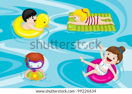 A vector illustration of kids swimming in swimming pool - stock vector