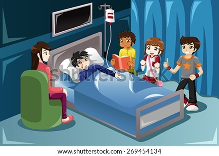 A vector illustration of kids visiting their friend in hospital - stock vector