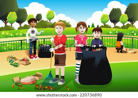 A vector illustration of kids volunteering cleaning up the park - stock vector