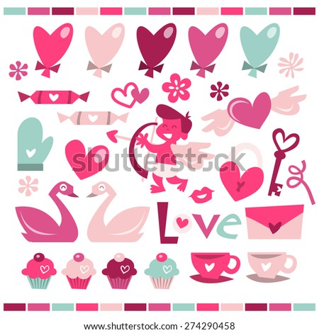 A vector illustration of love is in the air theme in fun retro whimsical style. - stock vector