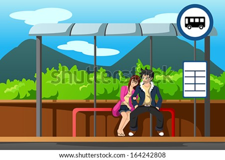 A vector illustration of man and woman waiting at bus stop - stock vector