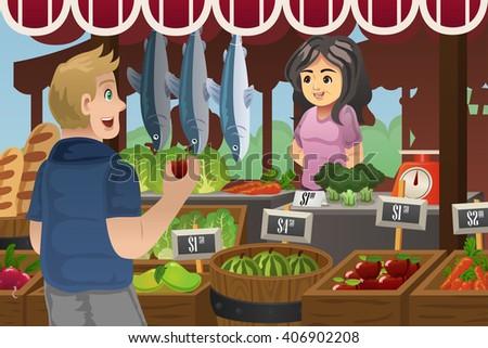 A vector illustration of man shopping in an outdoor farmers market - stock vector