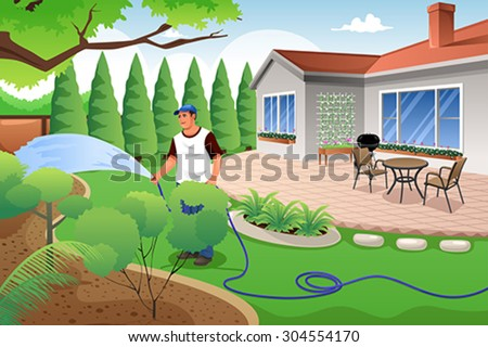 A vector illustration of man watering his grass and garden in the backyard - stock vector