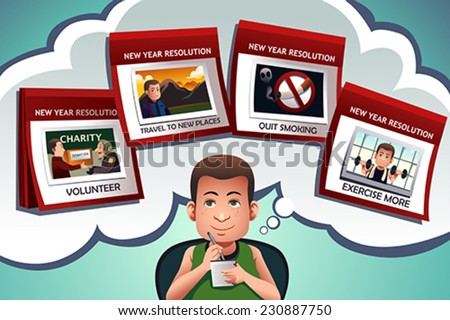 A vector illustration of man writing about his new year resolution - stock vector