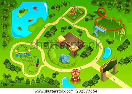 A vector illustration of map  of an amusement theme park - stock vector