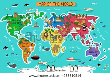 A vector illustration of map of the world - stock vector