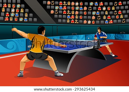 A vector illustration of men playing table tennis in the competition for sport competition series - stock vector