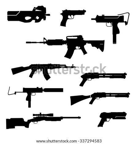A vector illustration of modern firearms. Black Gun Silhouettes icon illustration. A set of contemporary ordnance.