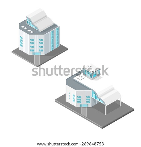 A vector illustration of modern office buildings. Office buildings Modern buildings for corporate business.