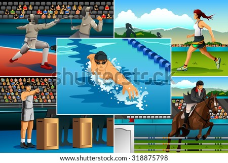 A vector illustration of modern pentathlon sport for sport competition series - stock vector