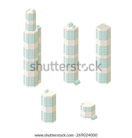 A vector illustration of modern skyscrapers. Isometric Skyscrapers. Tall isometric buildings. - stock vector