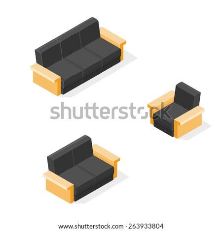 A vector illustration of modern sofa and chairs. Isometric Furniture. Sofa couch and chair icons. - stock vector