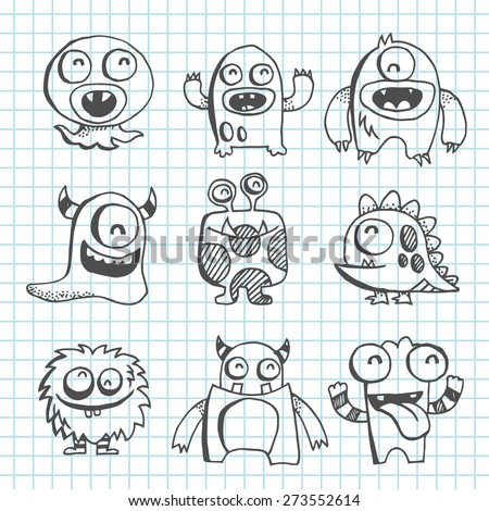 A vector illustration of monster creatures in line art scribble drawing style. The grid background is on a different layer and can be removed.  - stock vector