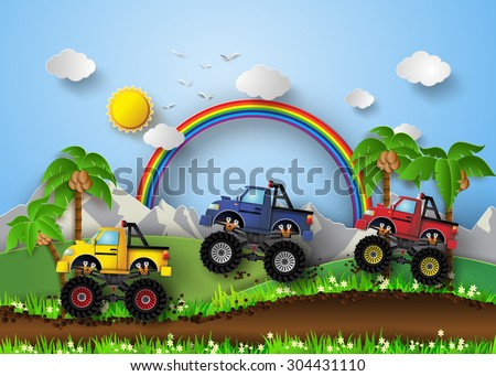 A vector illustration of monster truck racing. - stock vector