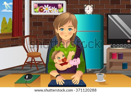A vector illustration of mother holding her baby while working at home - stock vector