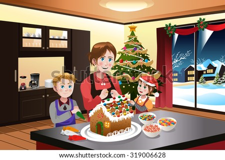 A vector illustration of mother making gingerbread house with her kids together - stock vector