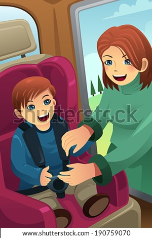 A vector illustration of mother putting on seatbelt for her son - stock vector