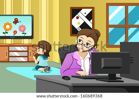 A vector illustration of mother working in the office while her daughter watching television - stock vector