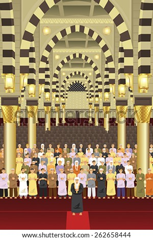 A vector illustration of Muslims praying together in a mosque - stock vector