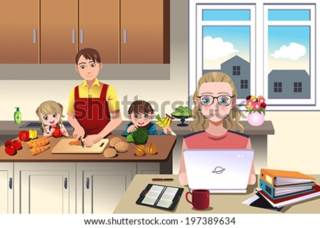 A vector illustration of of a modern family which dad prepares the dinner with his children while mom is working - stock vector