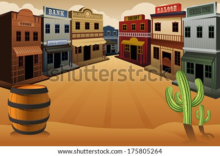 A vector illustration of old western town - stock vector