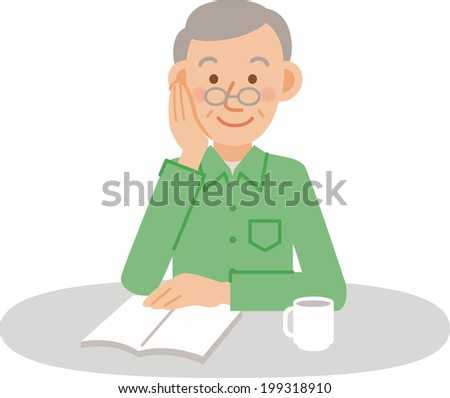 A vector illustration of older men posing