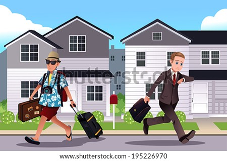 A vector illustration of one person going to work while the other one going on a vacation concept - stock vector