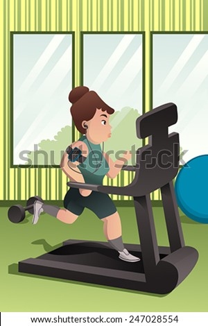 A vector illustration of overweight person running on a treadmill in a gym - stock vector