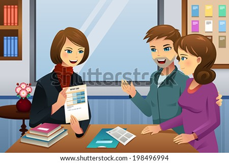 A vector illustration of parents and teacher meeting discussing the student class performance - stock vector
