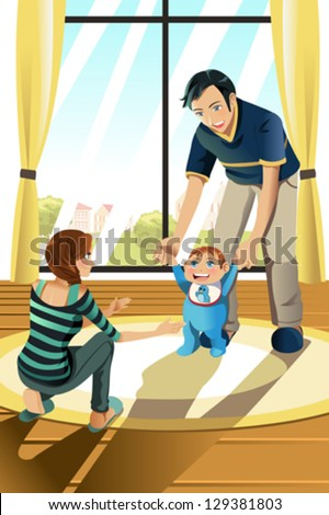 A vector illustration of parents helping their baby boy learning to walk