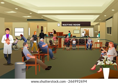 A vector illustration of patients waiting in a hospital waiting room - stock vector