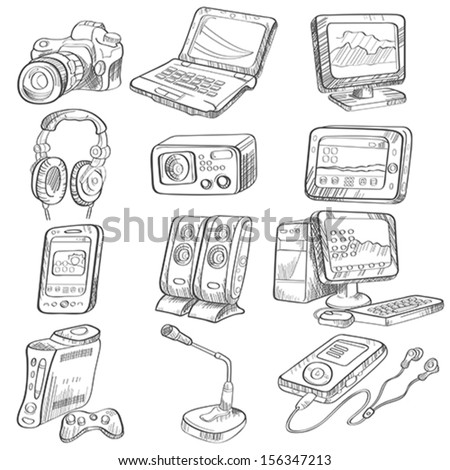 A vector illustration of pencil drawing of electronic gadget