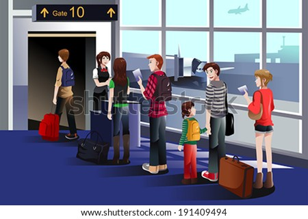 A vector illustration of people boarding the airplane at the gate - stock vector