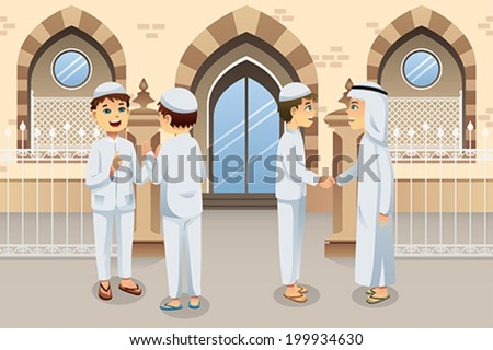 A vector illustration of people celebrating Eid-Al-fitr - stock vector