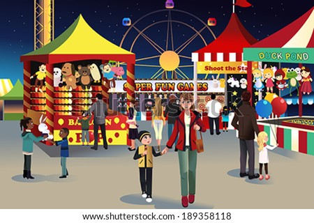 A vector illustration of people going to summer night outdoor fair - stock vector
