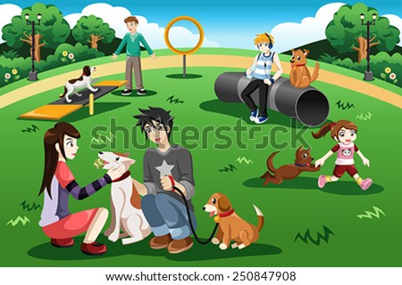 A vector illustration of people having fun in a dog park - stock vector