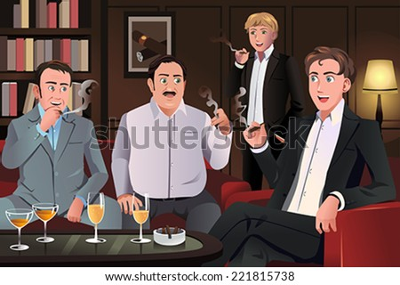 A vector illustration of people in a cigar lounge