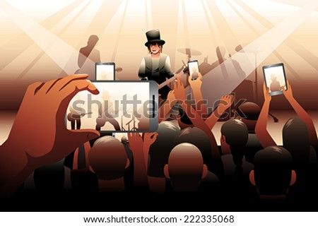 A vector illustration of people in a concert - stock vector