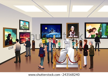 A vector illustration of people inside a museum - stock vector