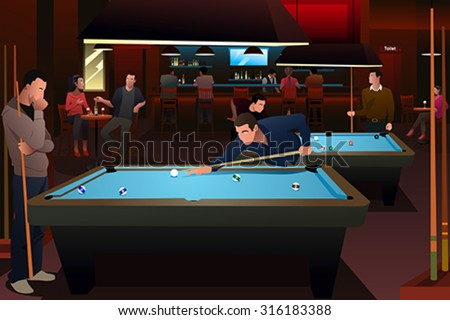 A vector illustration of people playing billiard  - stock vector