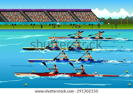A vector illustration of People riding canoe in river for sport competition series - stock vector