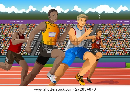 A vector illustration of people running in a race for  sport competition series - stock vector