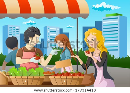 A vector illustration of people shopping in a outdoor farmers market - stock vector