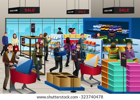 A vector illustration of people shopping on black friday in a store - stock vector