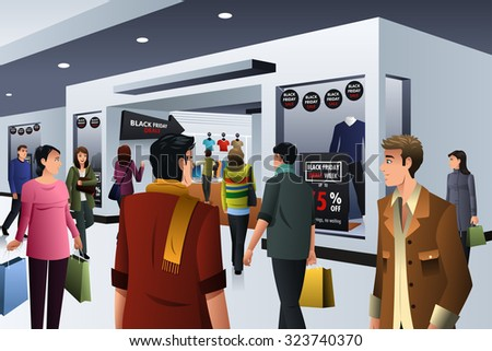 A vector illustration of people shopping on black friday in department store - stock vector