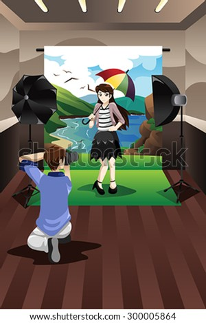 A vector illustration of photographer taking pictures of a model in a studio - stock vector