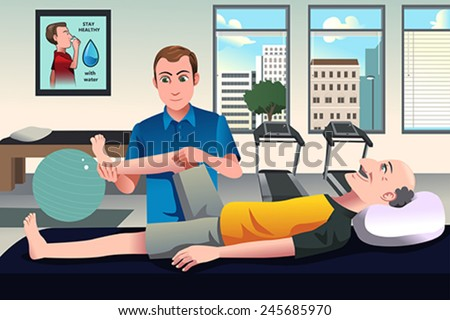 A vector illustration of physical therapist examining old man�¢??s leg at the hospital  - stock vector
